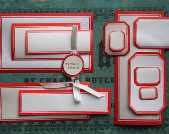 Red Vintage Dennison Gummed Labels - Variety Pack of 12 Original Vintage - Graduated Label Collection - Vintage Office Supplies