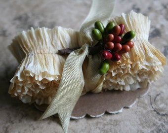Vintage Crepe Paper Ruffles Hand Dyed - Parchment Colored Ruffled Paper Trim - Handmade Crepe Paper Garland
