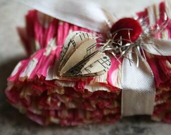 Crepe Paper Ruffles Velvet Kiss - Hot Pink And Cream Hand Dyed Ruffled Trim - Polka Dot Crepe Paper Ruffles - Romantic Home Decor