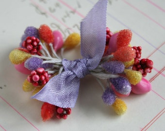 Sugar Frosted Easter Stamens -  Mixed Double Ended Millinery Floral Stamens - Wedding Corsage Boutonniere Supplies