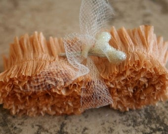 Peach Crepe Paper Ruffle Hand Dyed Summer - Hand Dyed Crepe Paper Garland - Handmade Crepe Paper Streamer - 32 Inches Packaging Trim