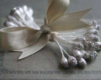 Silver German Glass Glittered Pearl Millinery Stamens