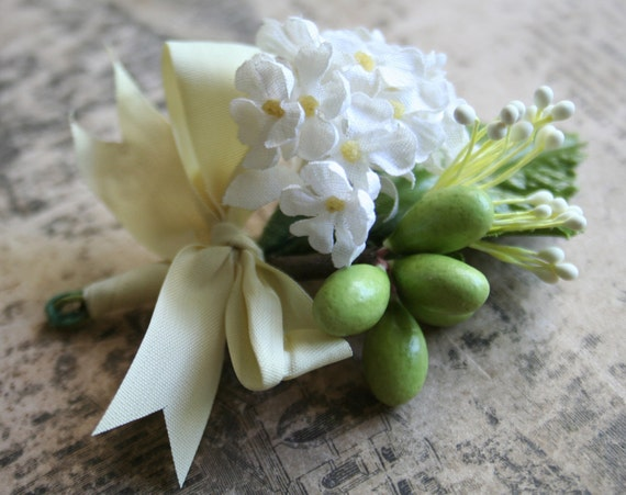 june wedding.....vintage ribbon wrapped posy