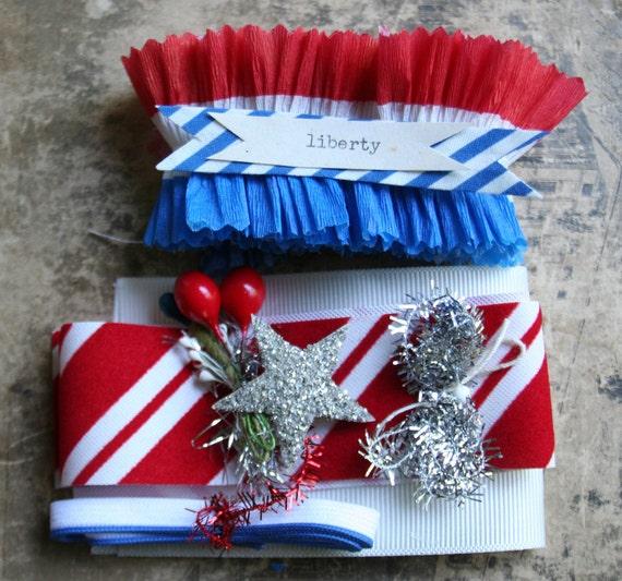 SALE..last one...liberty....4th of july diy prize ribbon patriotic kit