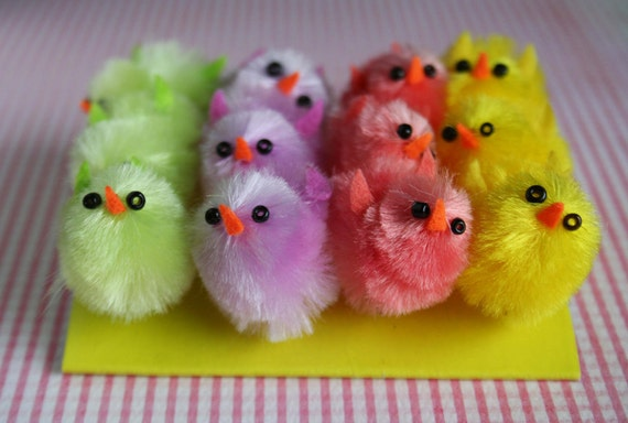 Reserved for Christine....12 tiny rainbow spring chenille chicks