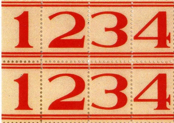 Reserved for Juris 50 Red Lined Number Labels - Vintage Style Labels - Numbers - Sticker Labels