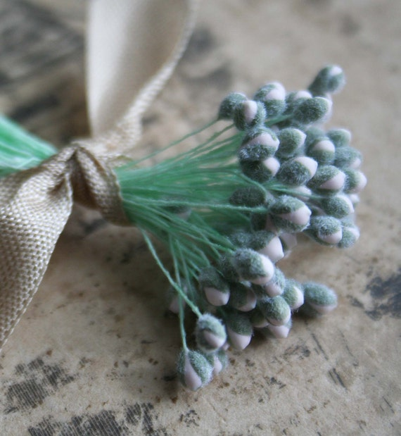 vintage double ended stamens with flocked buds