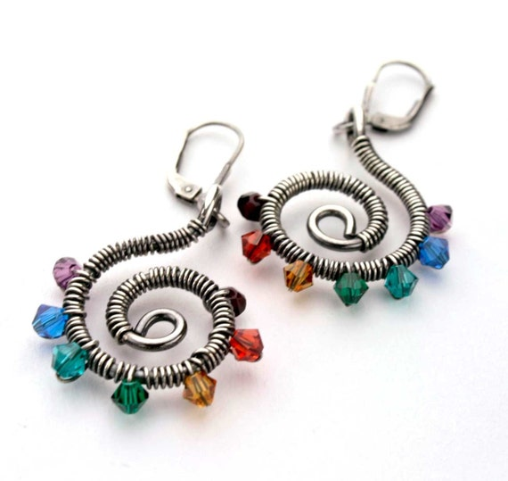 "Silver Chakra Earrings, wire wrapped sterling silver spiral with crystals - 2"" long"
