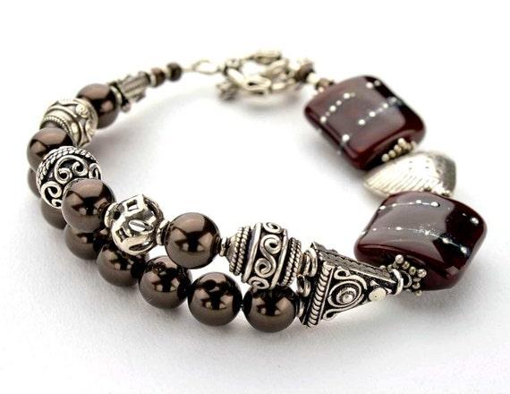 "Red lampwork bracelet, silver bracelet, dark red lampwork bead bracelet, heart bracelet, women*s jewelry - boho chic -  length 8.3"""
