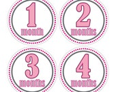 12 Monthly Baby Milestone Waterproof Glossy Stickers - Just Born - Newborn - Weekly stickers available - Design M001-02