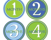 12 Monthly Baby Milestone Waterproof Glossy Stickers - Just Born - Newborn - Weekly stickers available - Design M006-01