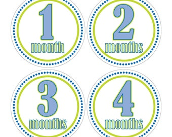 12 Monthly Baby Milestone Waterproof Glossy Stickers - Just Born - Newborn - Weekly stickers available - Design M001-01