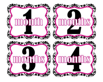 12 Monthly Baby Milestone Waterproof Glossy Stickers - Die Cut Shape - Just Born - Newborn - Weekly stickers available - Design M005-01