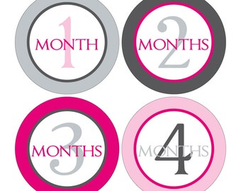 12 Monthly Baby Milestone Waterproof Glossy Stickers - Just Born - Newborn - Weekly stickers available - Design M016-02
