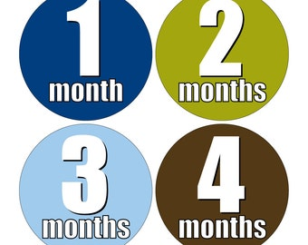12 Monthly Baby Milestone Waterproof Glossy Stickers - Just Born - Newborn - Weekly stickers available - Design M017-02
