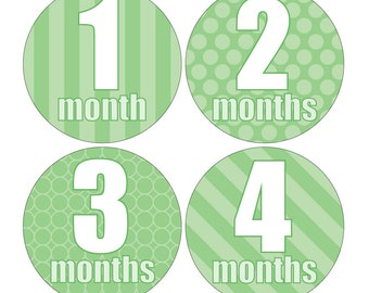 12 Monthly Baby Milestone Waterproof Glossy Stickers - Just Born - Newborn - Weekly stickers available - Design M018-03