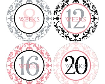 12 Weekly Pregnancy Mama-to-be Maternity Waterproof Glossy Stickers  - Monthly stickers available - Design W003-03