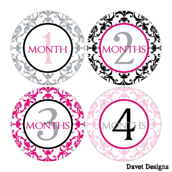 12 Monthly Baby Milestone Waterproof Glossy Stickers - Just Born - Newborn - Weekly stickers available - Design M007-01