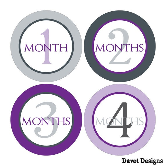 12 Monthly Baby Milestone Waterproof Glossy Stickers - Just Born - Newborn - Weekly stickers available - Design M016-04
