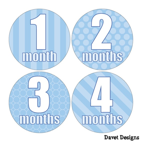 12 Monthly Baby Milestone Waterproof Glossy Stickers - Just Born - Newborn - Weekly stickers available - Design M018-01