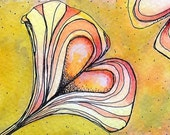 GINGKO, GINKGO HEARTED 2 - ATC ACEO - Digital Print of Watercolor and Ink Painting - positive and negative spaces, in yellow, gray, and a touch of red romance