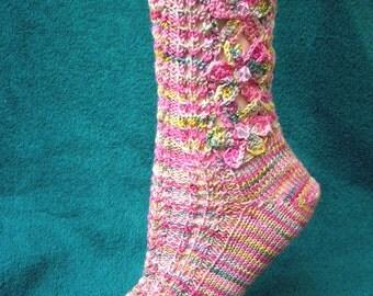 Flower Socks Knitting Pattern via Download