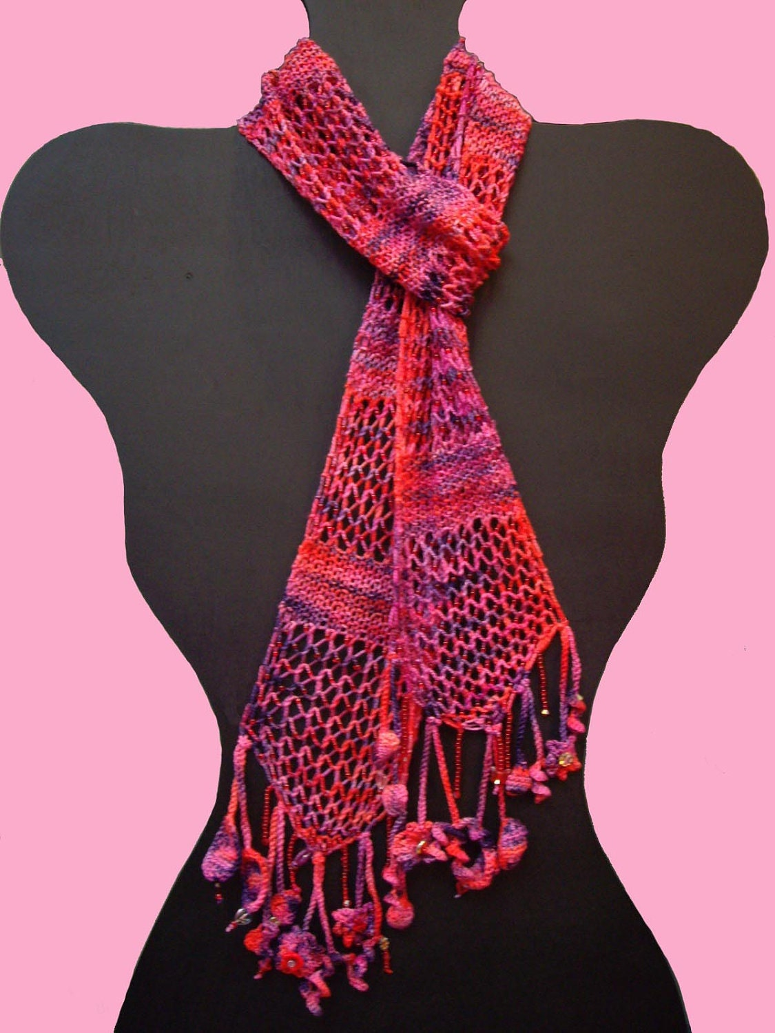 Beaded Garden Party Scarf Knitting Pattern via by yarnartists