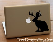 Jackalope - Jack Rabbit - Antelope, Horns, Bunny, Apple Macbook Pro Decal, Window, Car Sticker