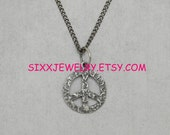 Peace Pendant in Sterling Silver and 1.2 mm Chain - Free Shipping in the USA