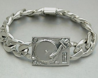 Turntable DJ Bracelet  in  Sterling Silver - Free Shipping in the USA