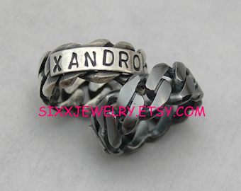 Personalized Chain Link Ring in Sterling Silver - Free Shipping in the USA