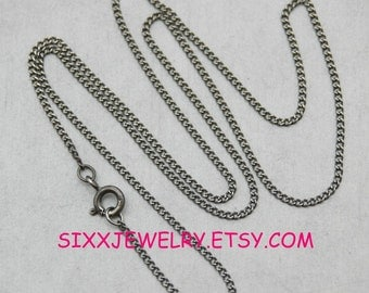 18 inch-1.2 mm Sterling Silver Antiqued Premium Curb Chain - Free Shipping in the USA