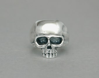 Silver Skull Ring in Sterling Silver - Free Shipping in the USA