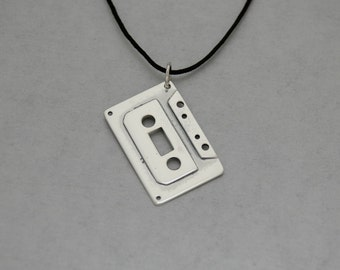 Cassette Tape Pendant in Sterling Silver - Free Shipping in the USA