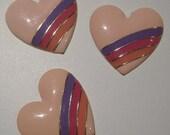 80's Heavy Metal Pastel Rainbow Heart Cabochons