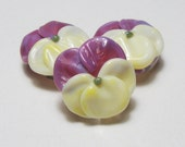 PANSIES Lampwork Glass Spring Floral Beads handmade flower jewelry supplies in purple and yellow