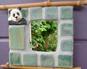 SALE Giant Panda Mosaic Mirror Relief Tile Mei Sheng Copper Green SAVE 20 percent