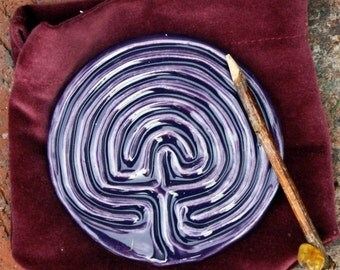 Classical Tracing Labyrinth with velvet sack and tracing stick-Dark Purple Grape