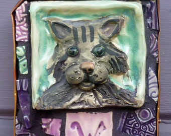 Mosaic Silver Gray Tabby Cat Welcome Sign
