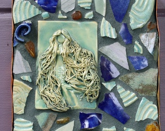 Mosaic Mermaid Plaque-Green, Cobalt and Amber