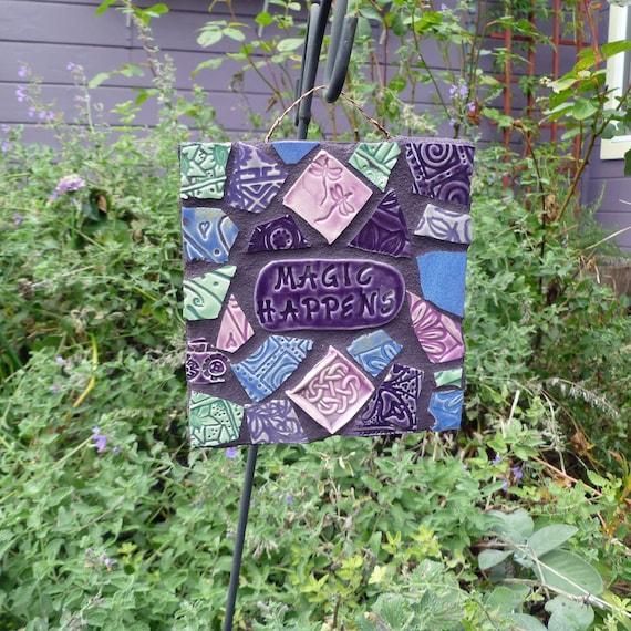 Mosaic Magic Happens Celtic Knot Dragonfly Sign