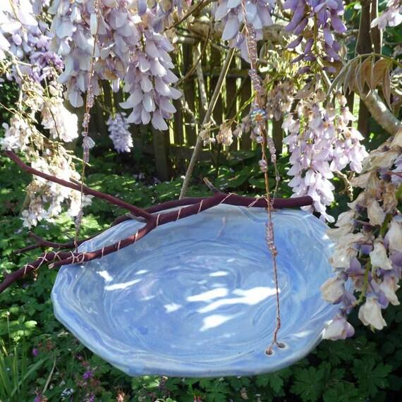 Lavender Hanging Ceramic Bird Bath Or Feeder