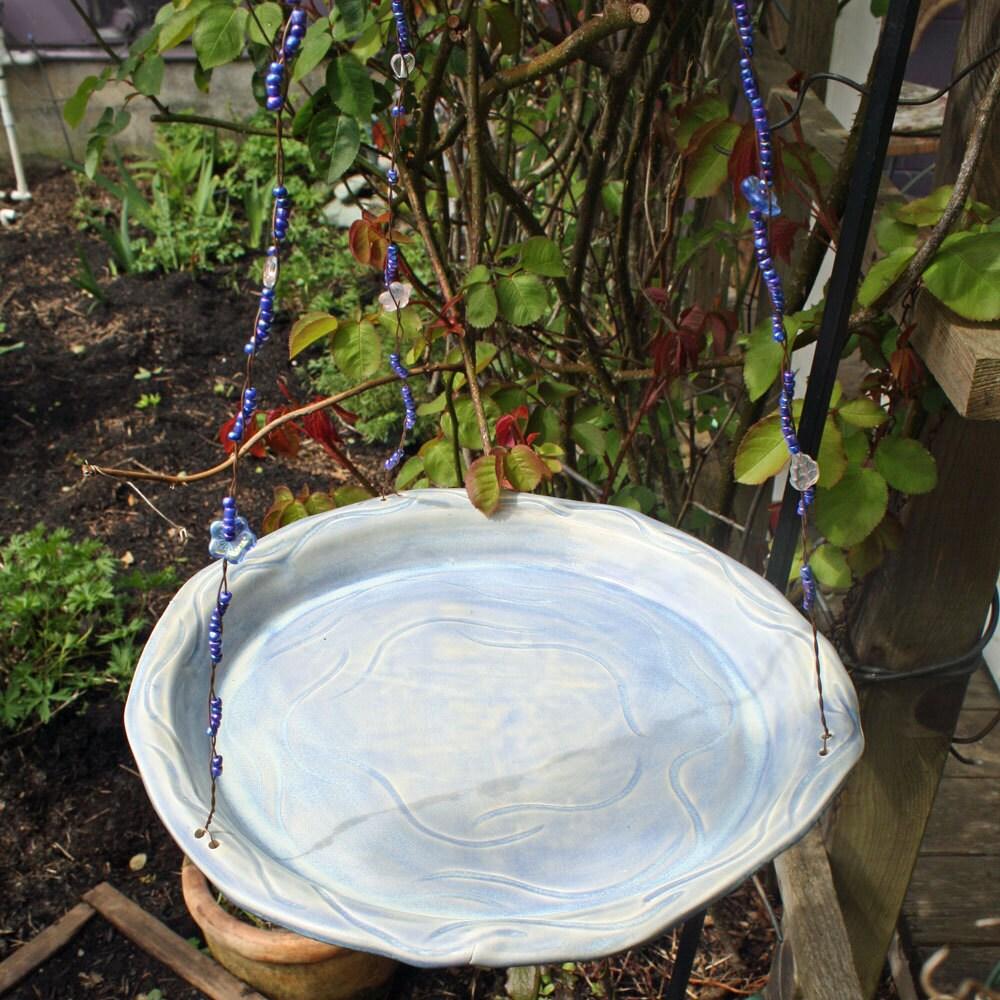 Lavender Purple Hanging Ceramic Bird Bath Or Feeder
