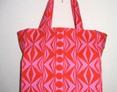 Geometric TIGHT 'N' TIDY Tote Folding Shopping Bag (in Hot Pink and Red)