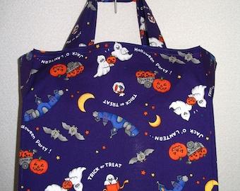 Halloween Tote Bag, SALE- Kawaii Cute Japanese Halloween Motifs in Purple Orange White TIGHT 'N' TIDY Tote Bag Reusable Folding Shopping Bag
