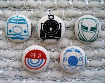 """Japanese Shinkansen Bullet Train Fabric Covered Buttons - Set of Five 7/8"""" buttons"""