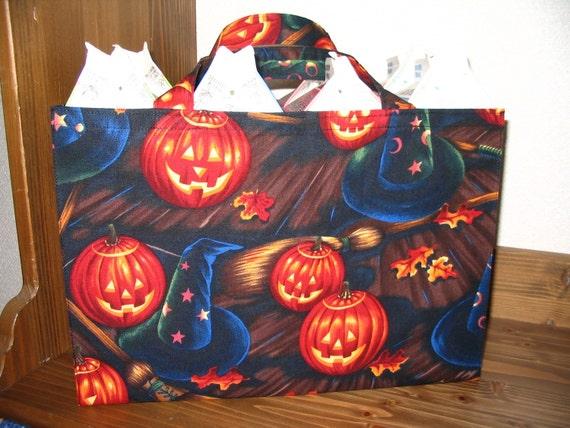 Halloween Tote Bag, Jack O Lantern Tight 'N' Tidy Tote Bag, Trick or Treat Bag, Reusable Folding Shopping Bag, Pumpkin, Witch Hat, Broom