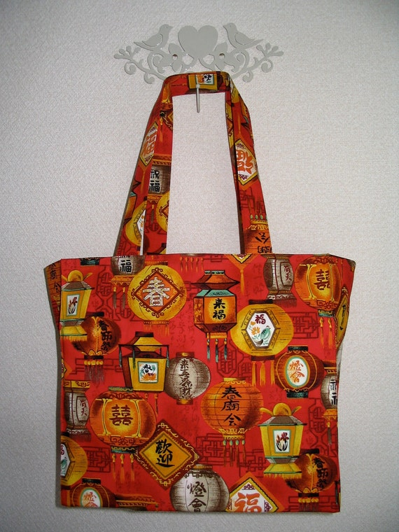 Red Chinese Lanterns TIGHT 'N' TIDY Tote