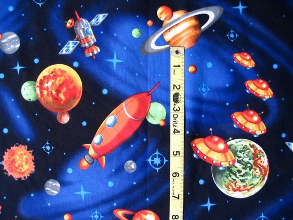 Spaceships and planets retro space fantasy coming at you for 3d space fabric
