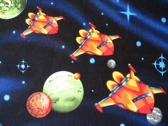 Items similar to spaceships and planets retro space for 3d space fabric